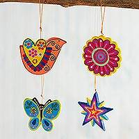 Ceramic ornaments, 'Multicolored Nature' (set of 4) - Assorted Hand-Painted Ceramic Ornaments from Peru (Set of 4)