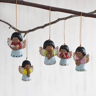 Ceramic ornaments, 'Music of Angels' (set of 5) - Hand-Painted Ceramic Angel Ornaments from Peru (Set of 5)