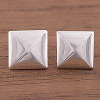 Sterling silver stud earrings, 'Symmetric Gleam' - Square Sterling Silver Stud Earrings Crafted in Peru