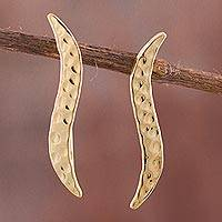 Gold plated sterling silver drop earrings, 'Gleaming Wave' - 18K Gold Plated Sterling Silver Gentle Arc Drop Earrings