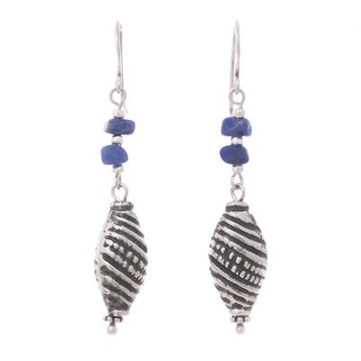 Sodalite Sterling Silver Spiral Motif Bead Dangle Earrings