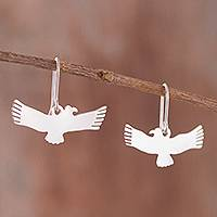 Sterling silver dangle earrings, 'Paracas Condor' - Condor Bird Sterling Silver Dangle Earrings from Peru