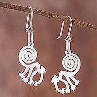 Sterling silver dangle earrings, 'Nazca Mischief' - Nazca Monkey Sterling Silver Dangle Earrings from Peru