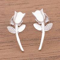 Sterling silver button earrings, 'Tulip Gleam' - Tulip Flower Sterling Silver Dangle Earrings from Peru