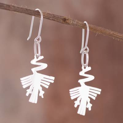 Sterling silver dangle earrings, 'Alcatraz Zigzag' - Nazca Sterling Silver Dangle Earrings from Peru