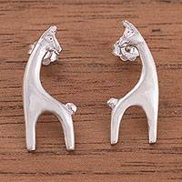 Sterling silver button earrings, 'Llama of Peru' - Llama Sterling Silver Button Earrings from Peru
