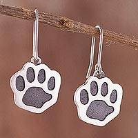 78b946f3b8b Sterling silver dangle earrings, 'Loyal Friend' - Paw Print Sterling Silver  Dangle Earrings