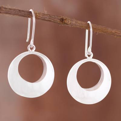 Sterling silver dangle earrings, 'Brilliant Rings' - Modern Sterling Silver Dangle Earrings from Peru