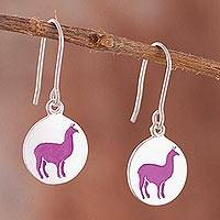 Sterling silver dangle earrings, 'Pink Llamas' - Pink Llama Sterling Silver Dangle Earrings from Peru