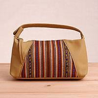 Leather accent wool blend cosmetic bag, 'Caramel Andes' - Striped Leather Accent Wool Blend Cosmetic Bag from Peru