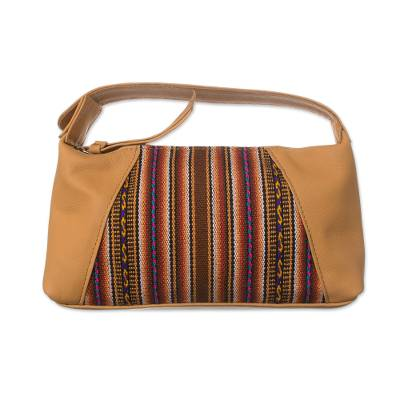 Striped Leather Accent Wool Blend Cosmetic Bag from Peru