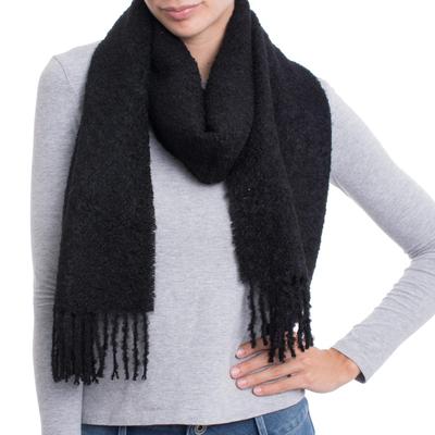 100% Alpaca Wrap Scarf in Solid Black from Peru