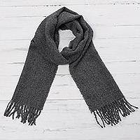 100% alpaca scarf, 'Andean Delight in Slate' - 100% Alpaca Wrap Scarf in Solid Slate from Peru
