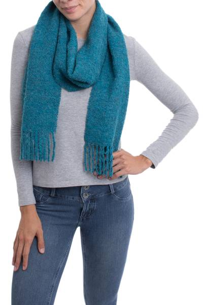 100% Alpaca Wrap Scarf in Solid Teal from Peru