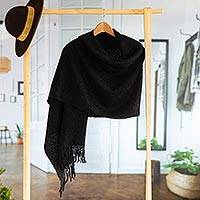 100% alpaca shawl, 'Andean Delight in Black' - 100% Alpaca Shawl in Solid Black from Peru