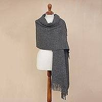 100% alpaca shawl, 'Andean Delight in Slate' - 100% Alpaca Shawl in Solid Slate from Peru
