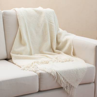 100% alpaca throw, 'Andean Comfort in Bone' - 100% Alpaca Throw Blanket in Solid Bone from Peru