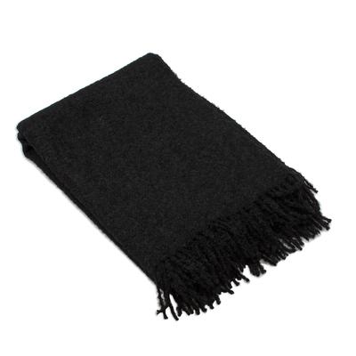 100% Alpaca Throw Blanket in Solid Black from Peru