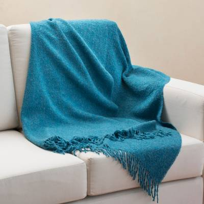 100% alpaca throw, 'Andean Comfort in Teal' - 100% Alpaca Throw Blanket in Solid Teal from Peru