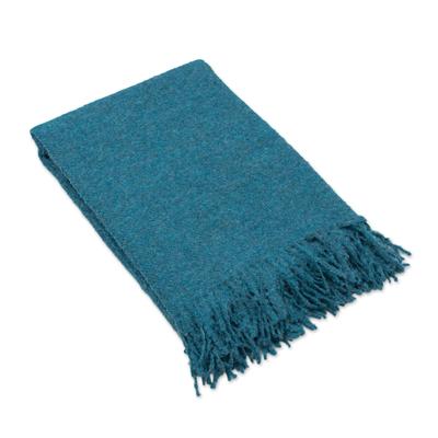 100% Alpaca Boucle Throw Blanket in Solid Teal from Peru