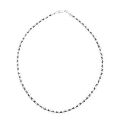 Sterling silver beaded necklace, 'Infinite Choices' - Combination Finish Sterling Silver Beaded Necklace from Peru