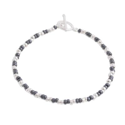 Sterling silver beaded bracelet, 'Infinite Choices' - Combination Finish Sterling Silver Beaded Bracelet from Peru