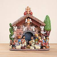Ceramic sculpture, 'House of Bethlehem' - Hand-Painted Ceramic Nativity Scene Sculpture from Peru