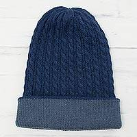 Men's reversible alpaca blend hat, 'The Bells of Huancayo in Azure' - Men's Alpaca Blend Knit Hat in Azure from Peru