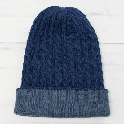 Mens reversible alpaca blend hat, The Bells of Huancayo in Azure