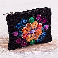 Alpaca blend coin purse, 'Floral Keeper in Black' - Embroidered Floral Black Alpaca Blend Coin Purse from Peru