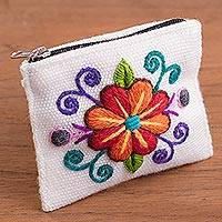 Alpaca blend coin purse, 'Floral Keeper in White' - Embroidered Floral White Alpaca Blend Coin Purse