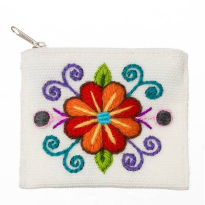Embroidered Floral White Alpaca Blend Coin Purse