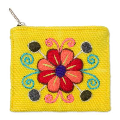 Embroidered Floral Maize Alpaca Blend Coin Purse from Peru