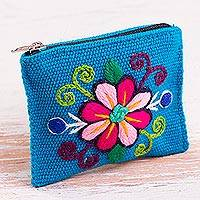Alpaca blend coin purse, 'Floral Keeper in Turquoise' - Embroidered Floral Turquoise Alpaca Blend Coin Purse