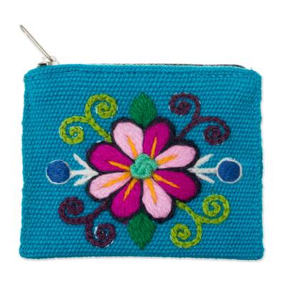 Embroidered Floral Turquoise Alpaca Blend Coin Purse