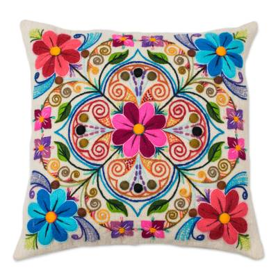 Wool and alpaca blend cushion cover, 'Floral Andean Kaleidoscope' - Floral Embroidered Wool and Alpaca Blend Cushion Cover