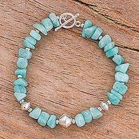 Aventurine beaded bracelet, 'Sky Fashion' - Aventurine and Sterling Silver Beaded Bracelet
