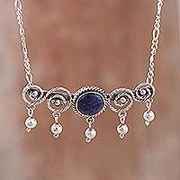 Sodalite pendant necklace, 'Regal Spirals' - Spiral Pattern Sodalite Pendant Necklace from Peru