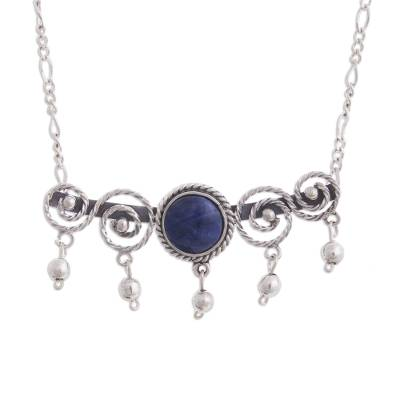 Spiral Pattern Sodalite Pendant Necklace from Peru