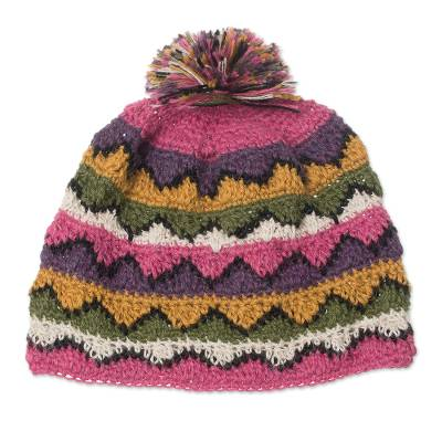 Hand-Crocheted Colorful 100% Alpaca Hat from Peru