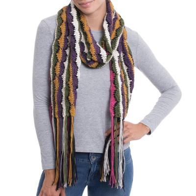 Hand-Crocheted Colorful 100% Alpaca Wrap Scarf from Peru