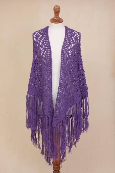 100% alpaca shawl, 'Purple Royalty' - Hand-Crocheted Imperial Purple 100% Alpaca Shawl from Peru