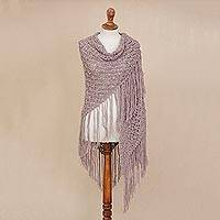 100% alpaca shawl, 'Pale Mauve Queen' - Hand-Crocheted Pale Mauve 100% Alpaca Shawl from Peru