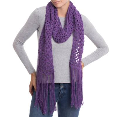 Hand-Crocheted 100% Alpaca Wrap Scarf in Imperial Purple
