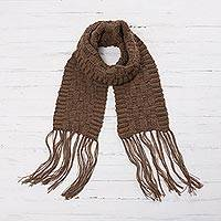 100% alpaca scarf, 'Chestnut Winter' - 100% Alpaca Wrap Scarf in Chestnut from Peru