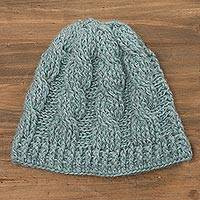 100% alpaca hat, 'Celadon Twist' - Hand-Crocheted 100% Alpaca Hat in Celadon from Peru