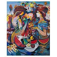 'Sweetness in Your Gaze' - Signed Expressionist Painting of Two Women from Peru