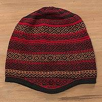 Alpaca blend knit hat, 'Diamond Warmth' - Red and Multicolored Alpaca Blend Knit Hat from Peru