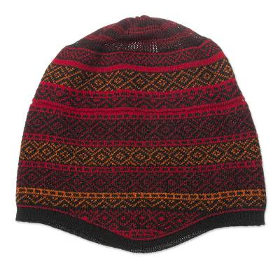 Red and Multicolored Alpaca Blend Knit Hat from Peru