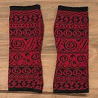 Alpaca blend fingerless gloves, 'Crimson World' - Alpaca Blend Fingerless Gloves in Crimson and Black